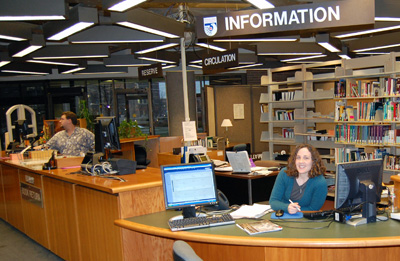 Librarian Nancy Weichert at the Info Desk