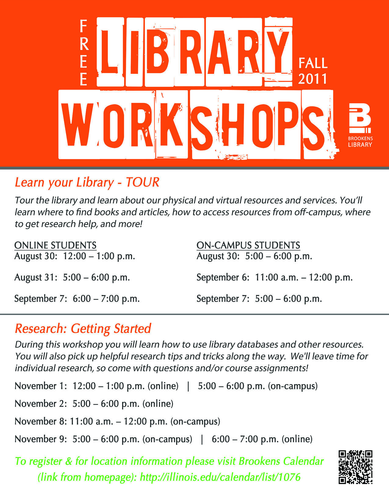 Fall Library Workshops Tours What S New At Brookens