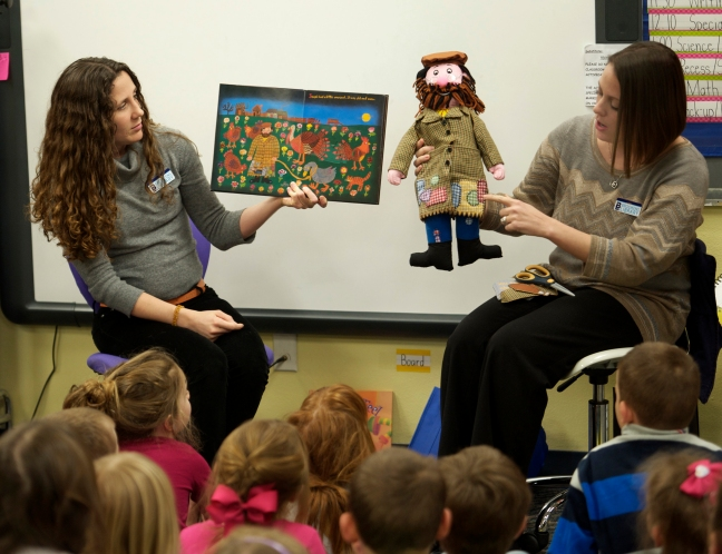 "Reading ""Joseph Had A Little Overcoat"" to Riverton Kindergarteners"