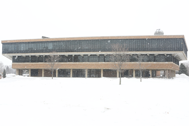 Brookens Library Snow