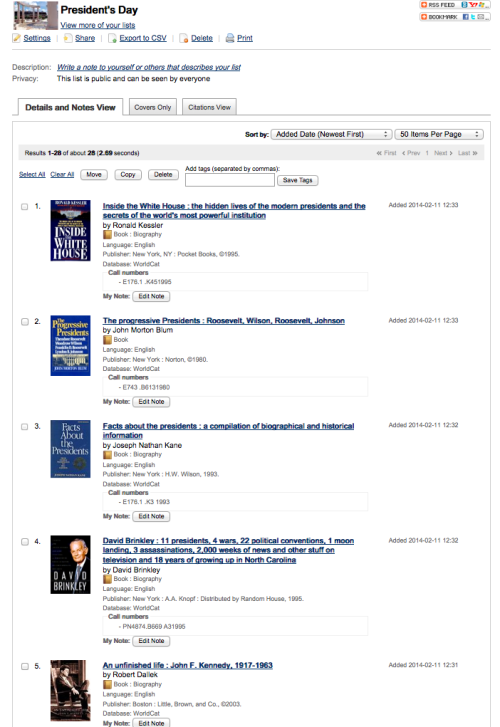 President's Day Book List Screenshot