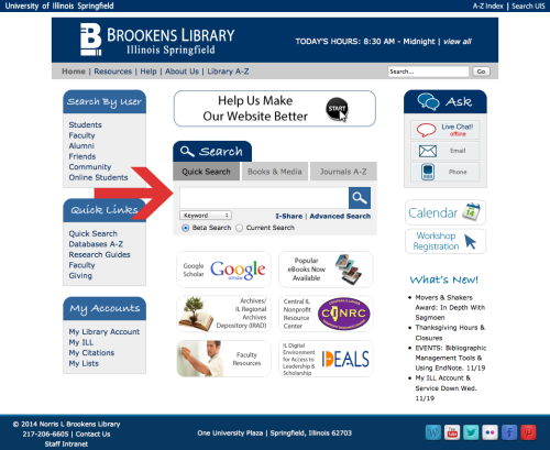 Brookens Library Homepage