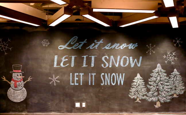 Let it Snow Brookens Library Chalkboard Art