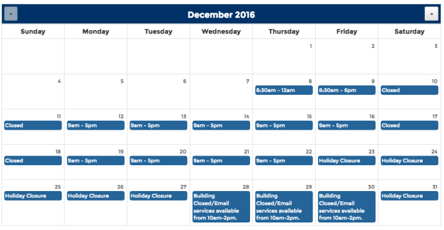 Calendar view of hours December 2016