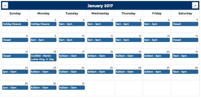 Calendar View of Library Hours January 2017
