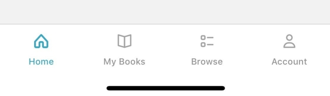 Image of navigation at bottom of app screen which includes buttons for Home, My Books, Browse, and Account.