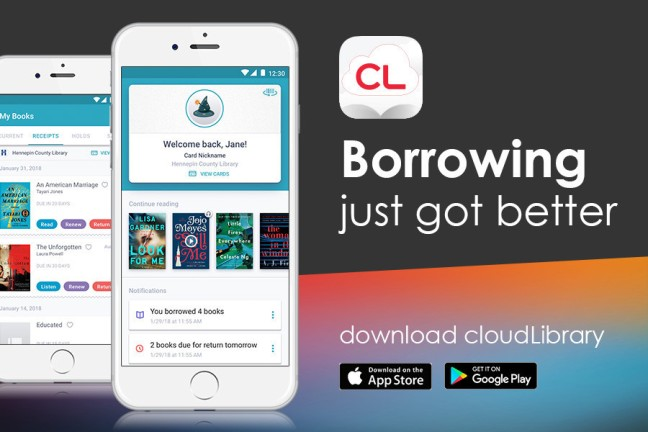 Image of cell phone with app displayed. Tagline: Borrowing just got better.