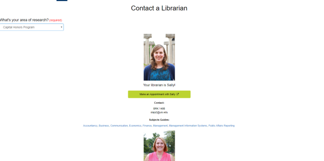 Image of the Contact a Librarian webpage.