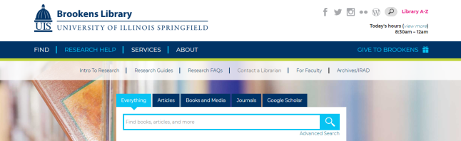 Image of the library website homepage.