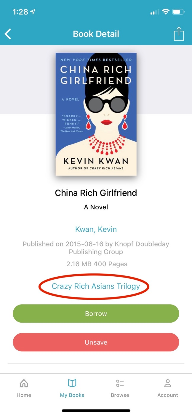 Image of Book Detail page for the Book China Rich Girlfriend indicating the series link that is provided on this page.