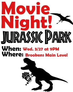 Image of movie night advertisement indicating that Movie Night at the Library is on Wednesday march 27th at 9pm on the main level of the library.