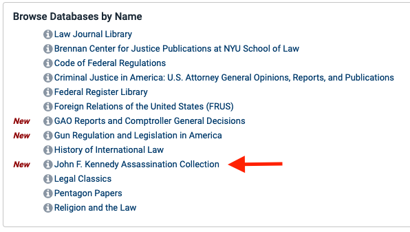Screen shot of collections by name in HeinOnline.