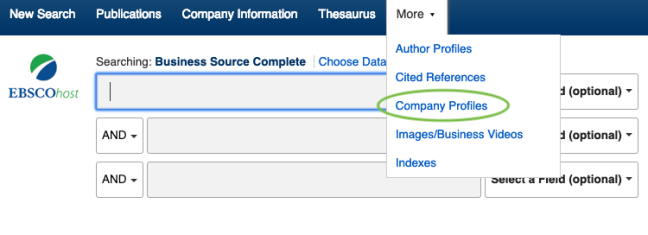 Screenshot of the Business source complete database indicating the Company Profiles listing under the more tab.