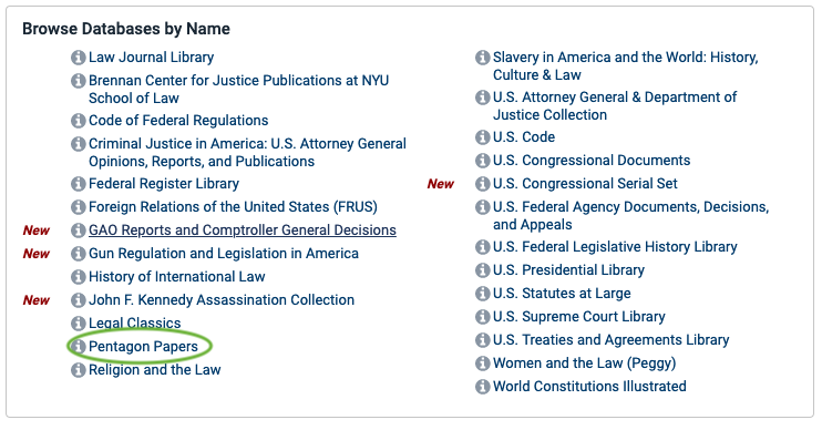 Screen shot of the list of collections under the browse database by name category.