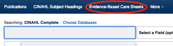 Screenshot of CINAHL complete database with the link to the Evidence-based care sheets circled.