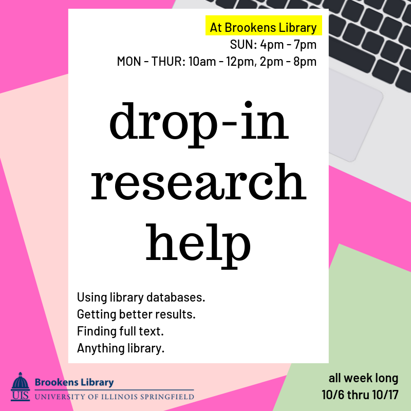 Drop-In Research Help Flyer.