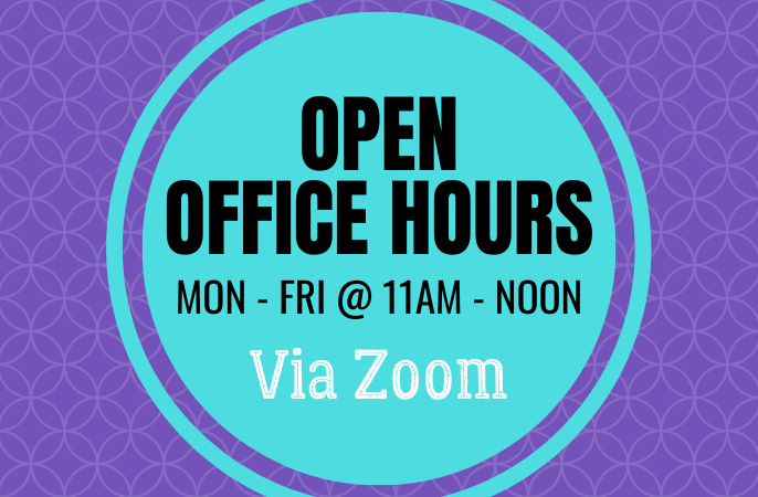 Dates and times of Library Open Office Hours via Zoom