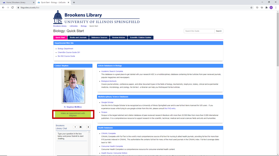 Make an Appointment button on Research Guide