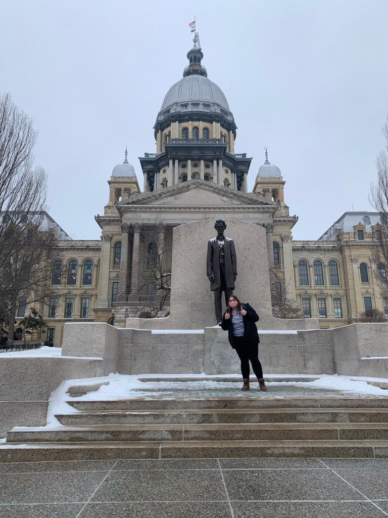 Molly outside the Illinois State Capitol