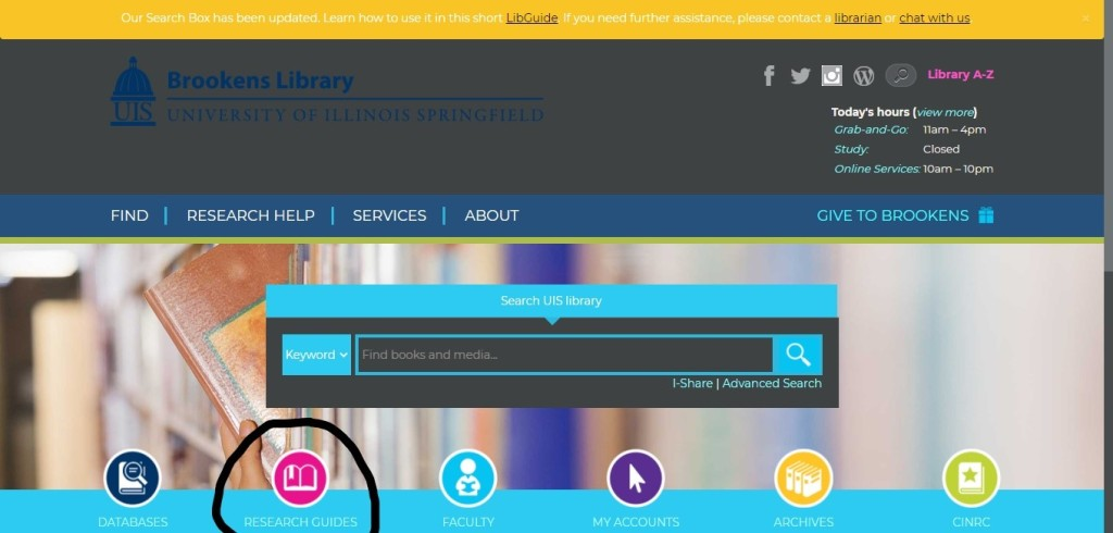 Brookens Library webpage