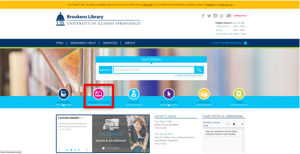 Main webpage for Brookens Library