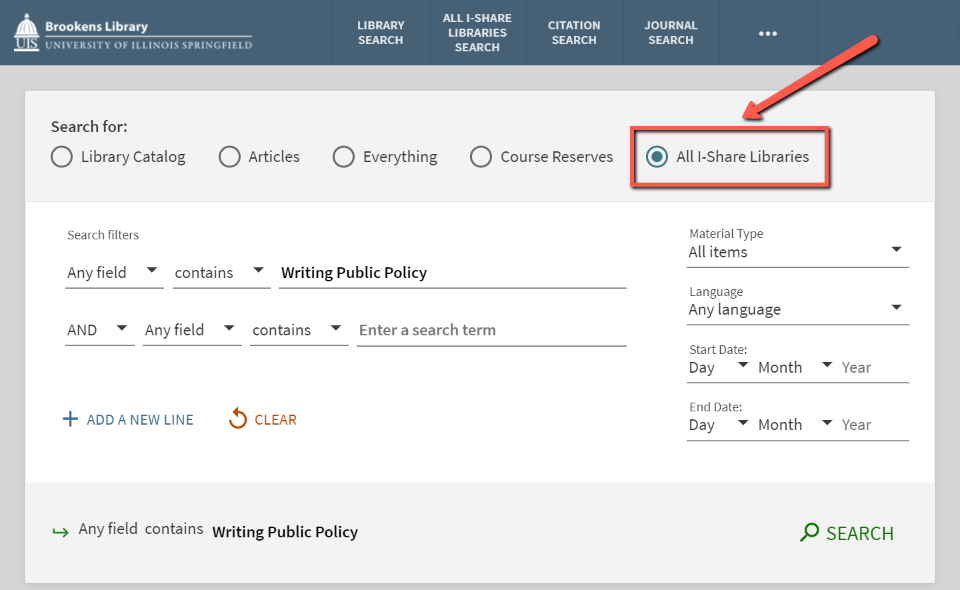 Arrow pointing to All I-Share Libraries on the catalog search page