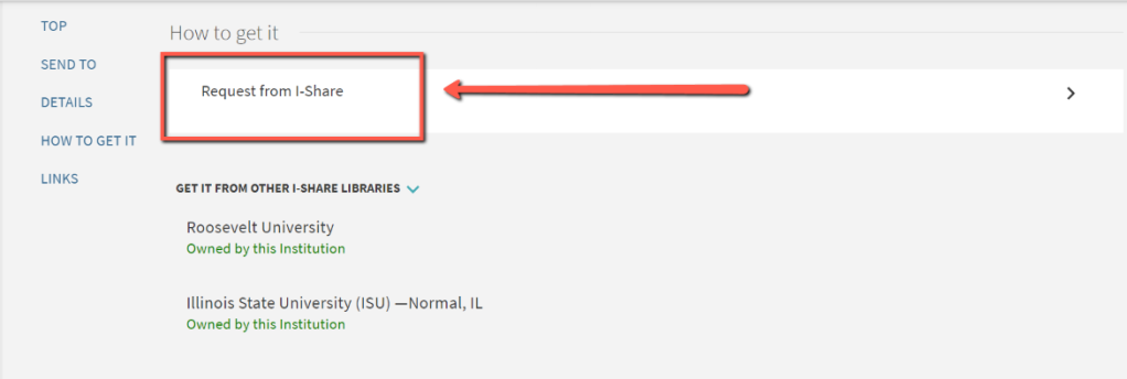 Arrow pointing to Request from I-Share on the item record page